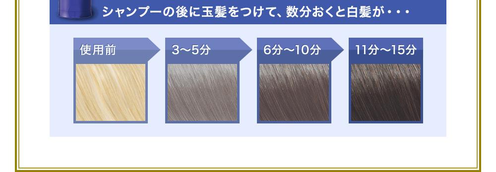 「真っ黒にするのは、少し抵抗がある・・・」という方も安心!「玉髪」なら放置時間によって、染まる色※が変えられます!白髪をぼかしたい方は3分程度。しっかり黒色に染めたい※方は11~15分程度時間を置いてから、洗い流すことでご希望の色に近づきます。