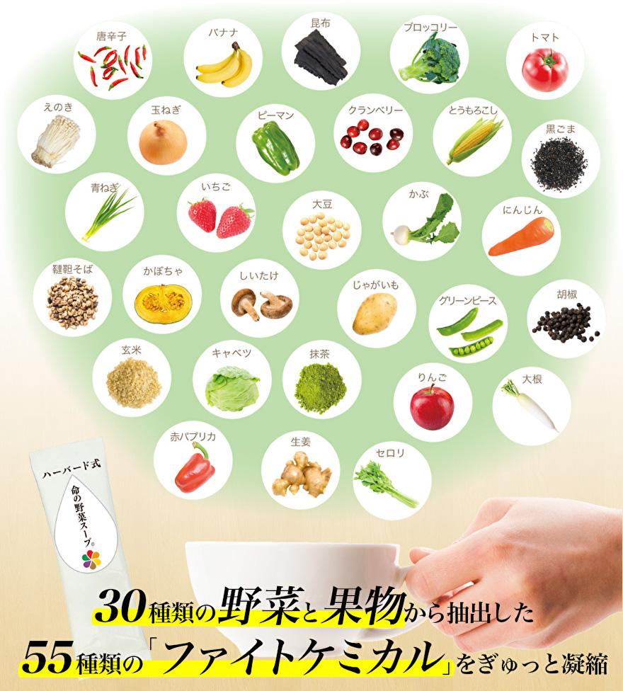 30種類の野菜と果物から抽出した55種類のファイトケミカルをぎゅっと凝縮