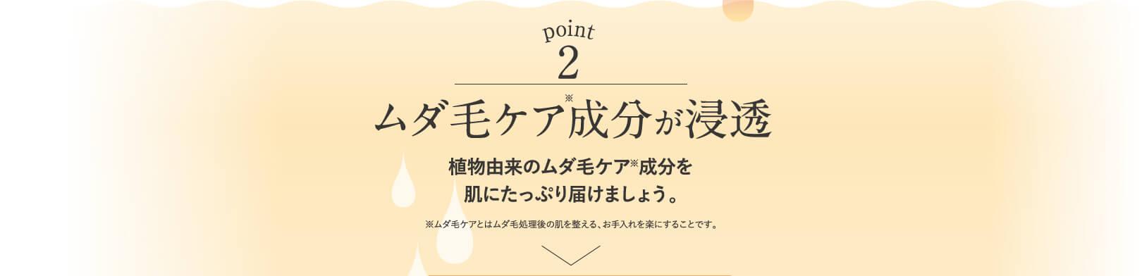 point2 ムダ毛ケア成分が浸透