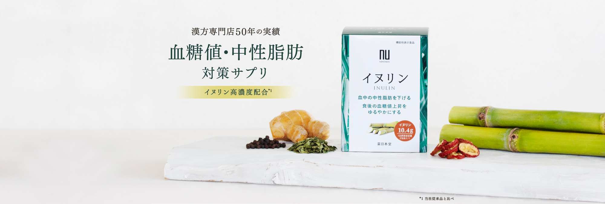 漢方専門店50年の実績 血糖値・中性脂肪対策サプリ イヌリン高濃度配合