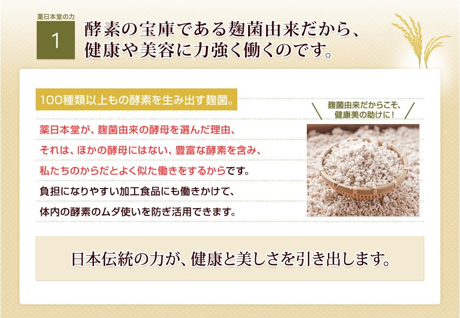 [薬日本堂の力1]酵素の宝庫である麹菌由来だから、健康や美容に力強く働くのです。