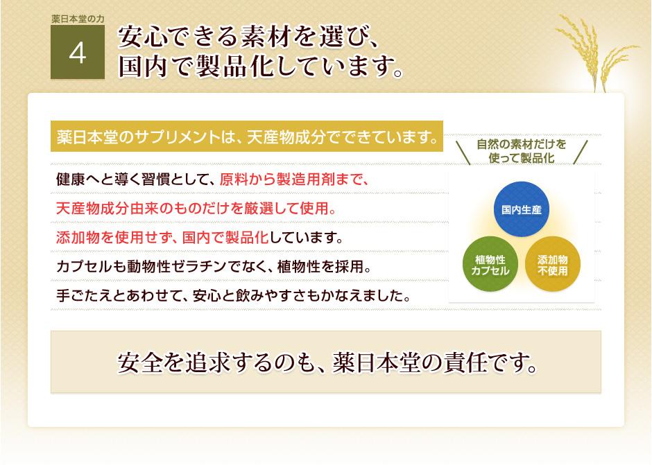 [薬日本堂の力4]安心できる素材を選び、国内で製品化しています。