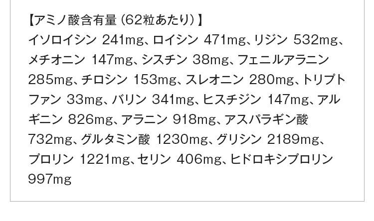 【アミノ酸含有量(62粒あたり)】