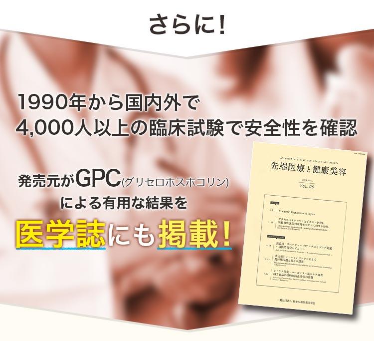 さらに 1990年から国内外で4,000人以上の臨床試験で安全性を確認 発売元がアルファGPCによる有用な結果を医学誌にも掲載!