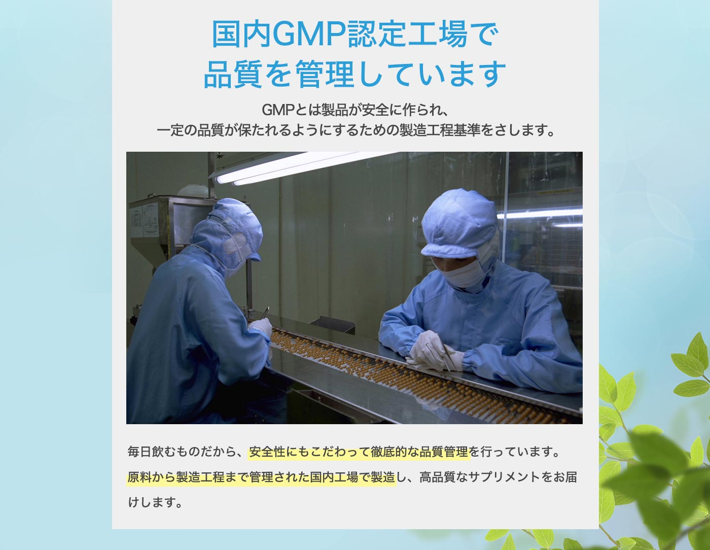 国内GMP認定工場で品質を管理しています