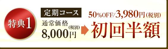 定期コース通常価格8,000円が初回限定半額の3,980円