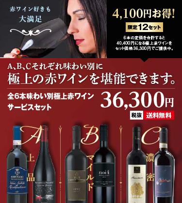 全6本味わい別極上赤ワインサービスセット(送料無料でお届け)