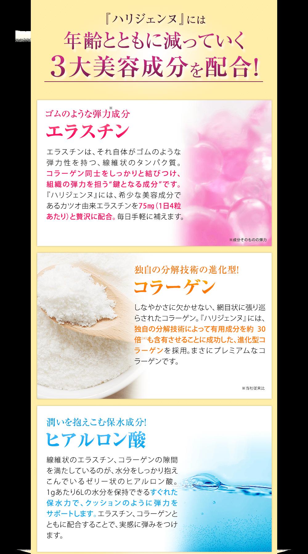 年齢とともに減っていく3大美容成分を配合。エラスチン、コラーゲン、ヒアルロン酸。