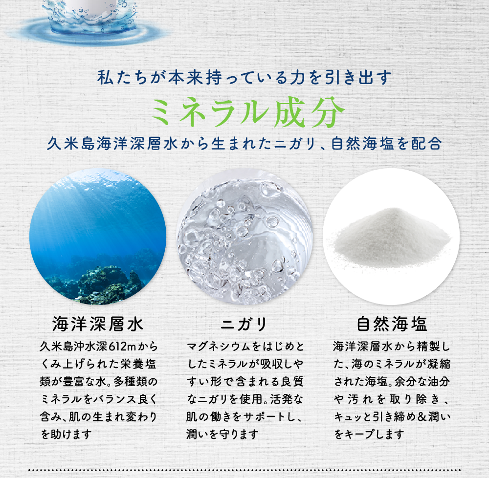 私たちが本来持っている力を引き出すミネラル成分久米島海洋深層水から生まれたニガリ、自然海塩を配合 海洋深層水 久米島沖水深612mからくみ上げられた栄養塩類が豊富な水。多種類のミネラルをバランス良く含み、肌の生まれ変わりを助けます ニガリ マグネシウムをはじめとしたミネラルが吸収しやすい形で含まれる良質なニガリを使用。活発な肌の働きをサポートし、潤いを守ります 自然海塩 海洋深層水から精製した、海のミネラルが凝縮された海塩。余分な油分や汚れを取り除き、キュッと引き締め&潤いをキープします