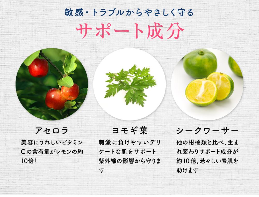 敏感・トラブルからやさしく守るサポート成分 アセロラ 美容にうれしいビタミンCの含有量がレモンの約10倍! ヨモギ葉 刺激に負けやすいデリケートな肌をサポート。紫外線の影響から守ります シークワーサー 他の柑橘類と比べ、生まれ変わりサポート成分が約10倍。若々しい素肌を助けます