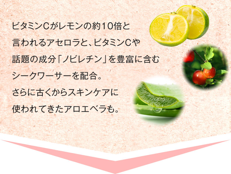 ビタミンCがレモンの約10倍と言われるアセロラと、ビタミンCや話題の成分「ノビレチン」を豊富に含むシークワーサーを配合。さらに古くからスキンケアに使われてきたアロエベラも。