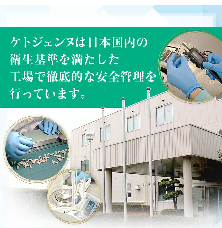 ケトジェンヌは日本国内の衛生基準を満たした工場で徹底的な安全管理を行っています