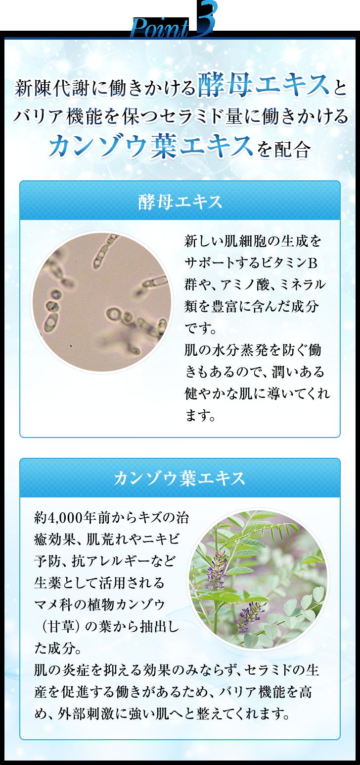Point3 新陳代謝に働きかける酵母エキスとバリア機能を保つセラミド量に働きかけるカンゾウ葉エキスを配合 酵母エキス 新しい肌細胞の生成をサポートするビタミンB群や、アミノ酸、ミネラル類を豊富に含んだ成分です。肌の水分蒸発を防ぐ働きもあるので、潤いある健やかな肌に導いてくれます。 カンゾウ葉エキス 約4,000年前からキズの治癒効果、肌荒れやニキビ予防、抗アレルギーなど生薬として活用されるマメ科の植物カンゾウ(甘草)の葉から抽出した成分。肌の炎症を抑える効果のみならず、セラミドの生産を促進する働きがあるため、バリア機能を高め、外部刺激に強い肌へと整えてくれます。