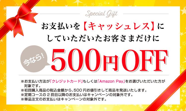 お支払いをキャッシュレスにしていただいたお客さまだけに今なら500円OFF