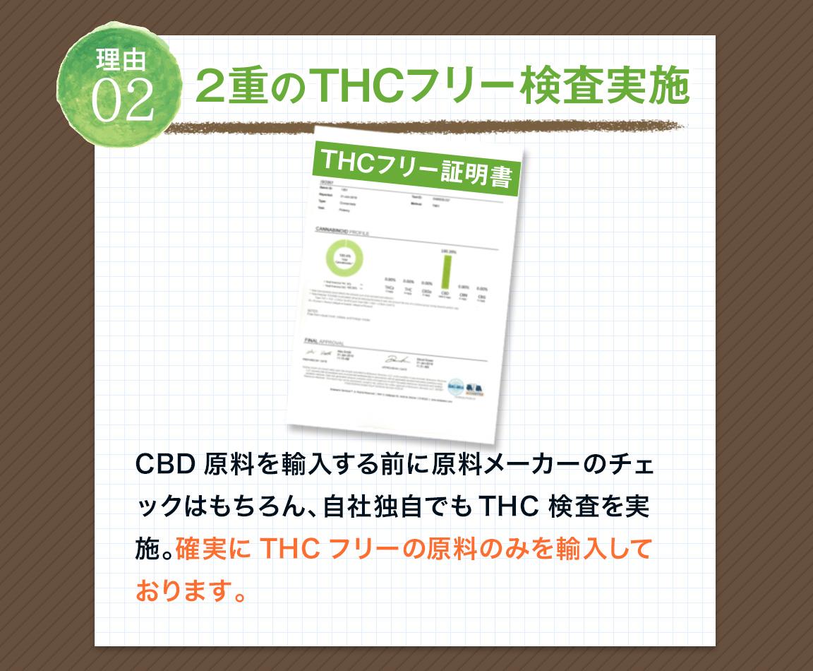 理由02 2重のTHCフリー検査実施