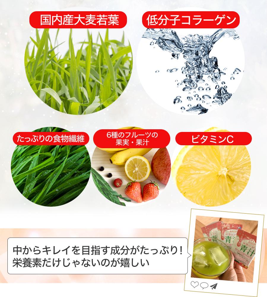国内産大麦若葉 低分子コラーゲン たっぷりの食物繊維 6種のフルーツの果実・果汁 ビタミンC