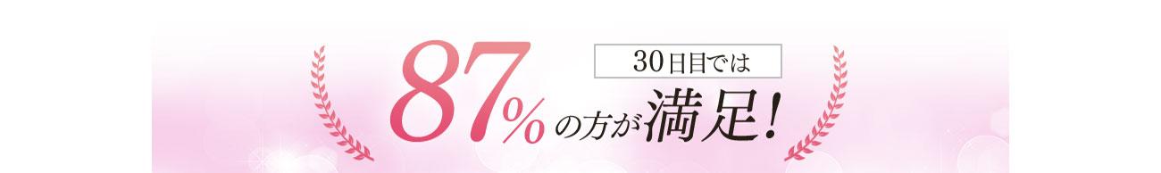 30日目では87%の方が満足!