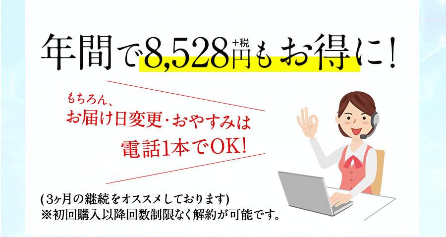 年間で8,528円+税もお得に! もちろんお届け日変更・おやすみは電話1本でOK!