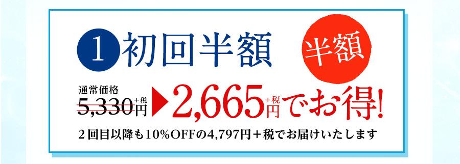 1 初回限定 通常価格5,330円+税 半額2,665円+税でお得! 2回目以降も10%OFFの4,797円+税でお届けします