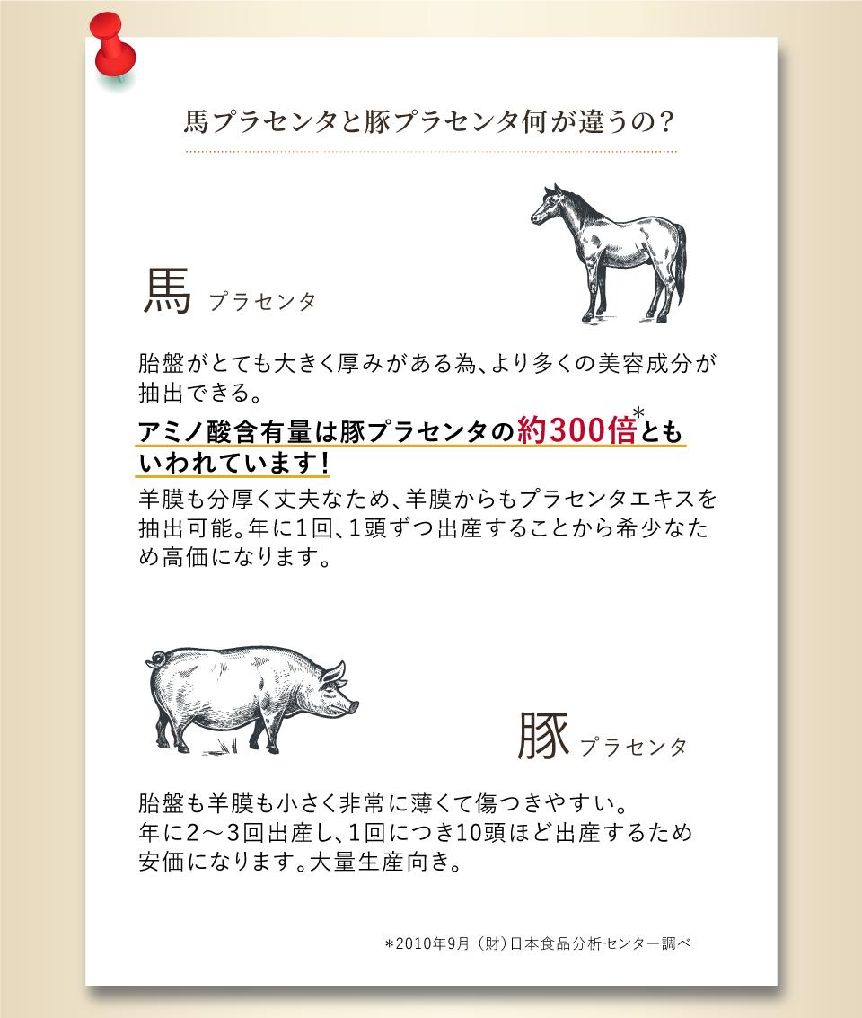 馬プラセンタと豚プラセンタ何が違うの?