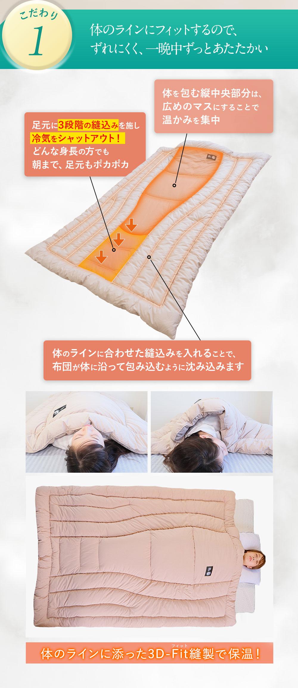 3D-Fit CoCOONはからだにフィットするから睡眠の質が上がります。