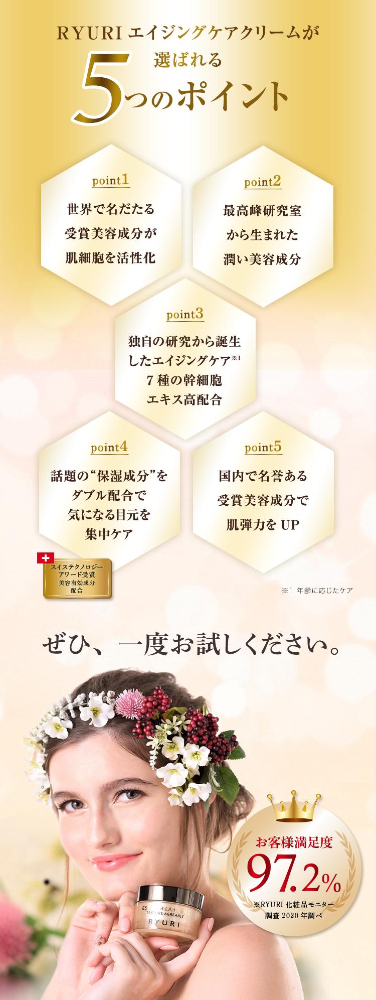 RYURIエイジングケアクリームが選ばれる5つのポイント