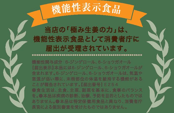 当店の「極み生姜の力」は、機能性表示食品として消費者庁に届出が受理されています。