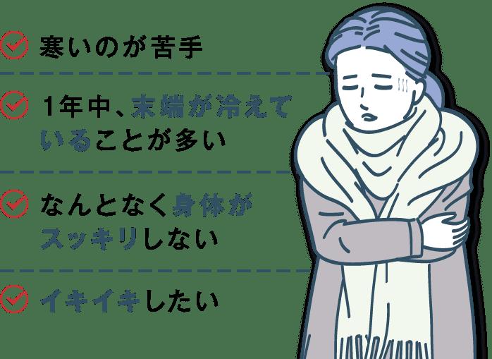 寒いのが苦手、1年中、末端が冷えていることが多い、なんとなく身体がスッキリしない、イキイキしたい