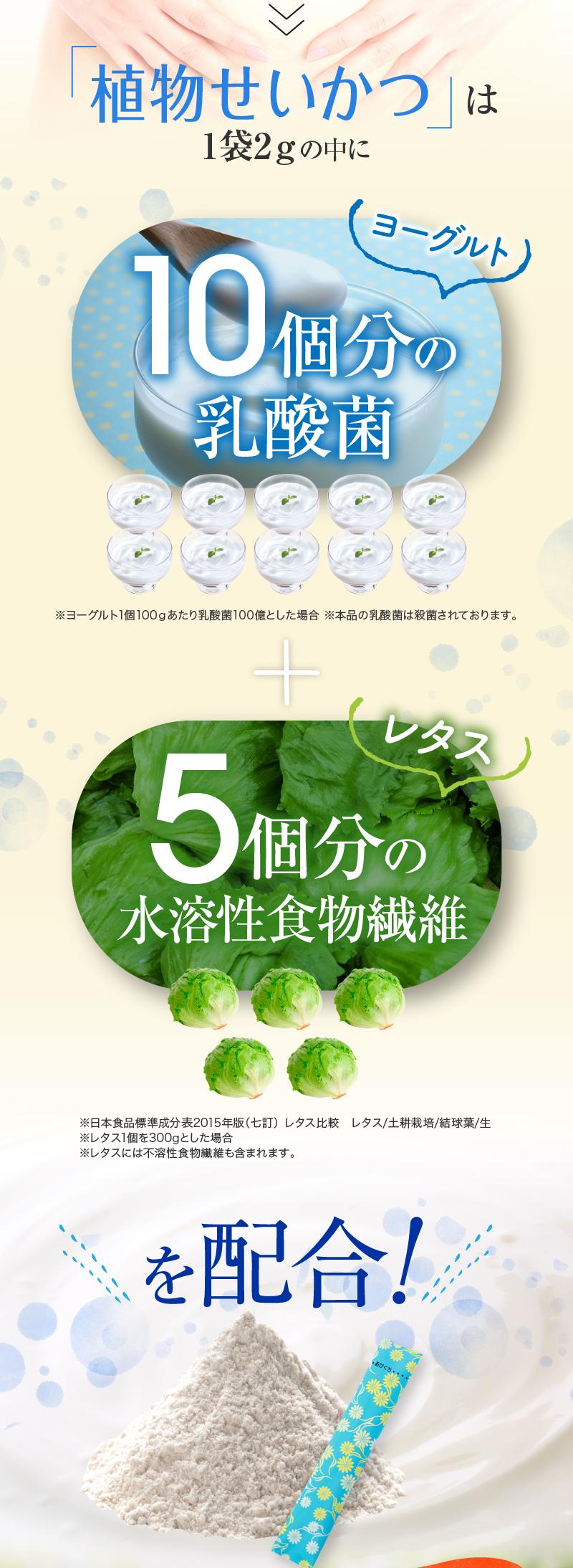 植物生活は1袋2gの中にヨーグルト10億個分の乳酸菌・レタス5個分の水溶性食物繊維を配合!