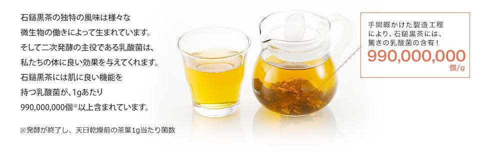 石鎚黒茶の独特の風味は様々な微生物の働きによって生まれています。そして二次発酵の主役である乳酸菌は、私たちの体に良い効果を与えてくれます。石鎚黒茶には健康に良い機能を持つ乳酸菌が、1gあたり990,000,000個※以上含まれています。手間暇かけた製造工程により、石鎚黒茶には、驚きの乳酸菌の含有!990,000,000個/g