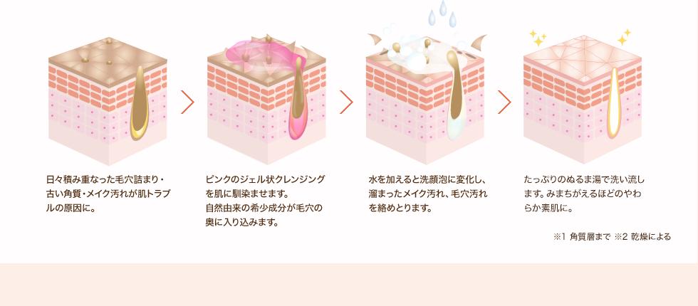 1.年々肌のターンオーバー乱れが毛穴詰まり・古い角質・メイクが肌トラブルの原因に。2.ピンクのジェル状クレンジングを肌に馴染ませます。自然由来の希少成分が毛穴の奥に入り込みます。3.水を加えると洗顔泡に変化し、古い角質や溜まったメイク汚れ、毛穴汚れを絡めとります。4.たっぷりのぬるま湯で洗い流します。生まれたてのようなやわらか素肌に。