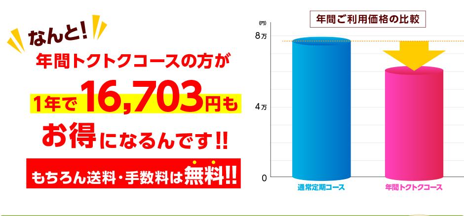 年間トクトクコースの方が1年で16,399円もお得になるんです!!もちろん送料・手数料無料!!