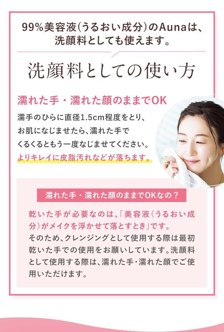 99%美容液(うるおい成分)のAunaは、洗顔料としても使えます。 洗顔料としての使い方 濡れた手・濡れた顔のままでOK 濡手のひらに直径1.5cm程度をとり、お肌になじませたら、濡れた手でくるくるともう一度なじませてください。よりキレイに皮脂汚れなどが落ちます。 濡れた手・濡れた顔のままでOKなの? 乾いた手が必要なのは、「美容液(うるおい成分)がメイクを浮かせて落とすとき」です。そのため、クレンジングとして使用する際は最初乾いた手での使用をお願いしています。洗顔料として使用する際は、濡れた手・濡れた顔でご使用いただけます。