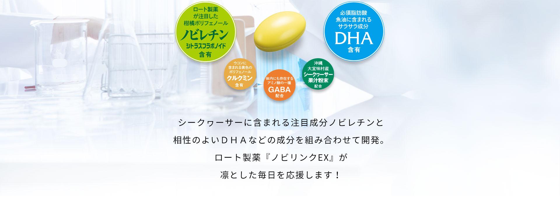シークヮーサーに含まれる注目成分ノビレチンと相性のよいDHAなどの成分を組み合わせて開発。ロート製薬『ノビリンクEX』が凛とした毎日を応援します!