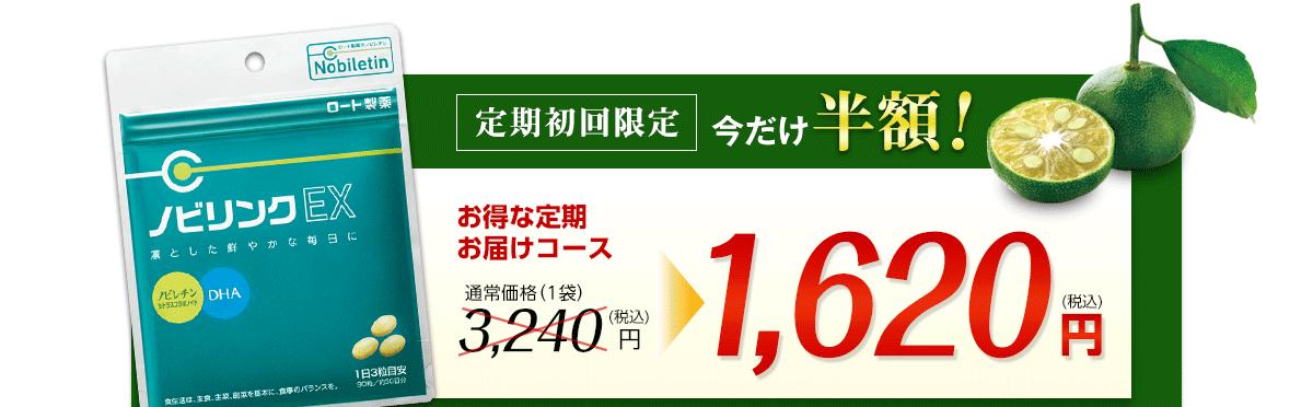 定期初回限定、今だけ半額!お得な定期お届けコース1,620円(税込)